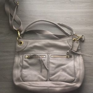 Gray crossbody or shoulder bag